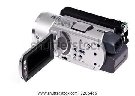 hi-res digital camcorder isolated - stock photo