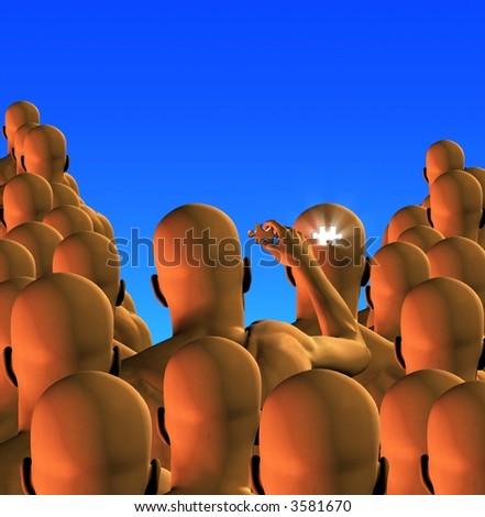 Hi-Res Individual in a crowd removes puzzle piece from another - stock photo