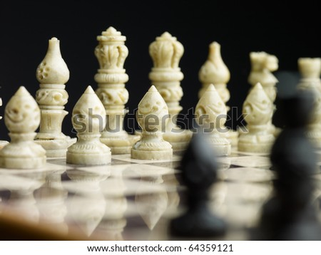 Hi res photos of chess board with figures - stock photo