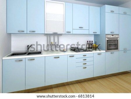 hi res rendering of blue modern kitchen with wood floor