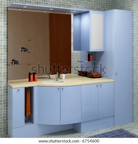hi res rendering of blue wood modern bathroom furniture