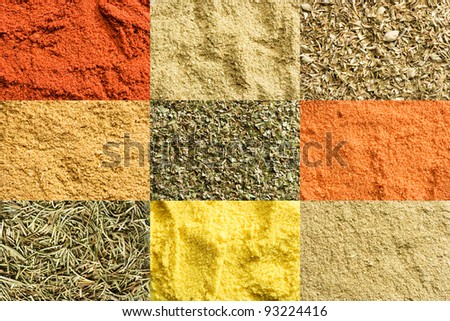 Hi resolution image created from 9 separate images of spices - stock photo