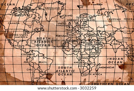 Hi resolution image of the World Map on a grungy Background
