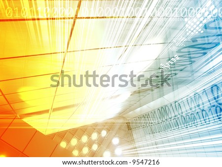 Hi-Tech Abstract Futuristic with digital numbers. Great as a background or a design element. - stock photo