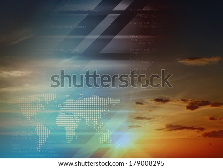 Hi-tech design and sky background collage - stock photo