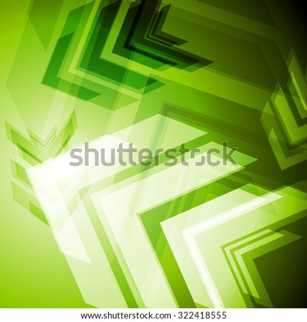 Hi-tech green arrows abstact background - stock photo