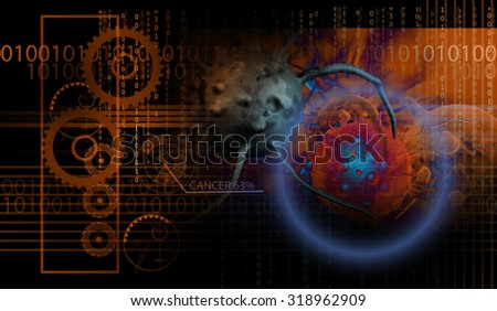 hi tech infographics of cancer cell made in 3d software - stock photo