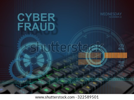 hi tech infographics of cyber fraud made in 3d software - stock photo