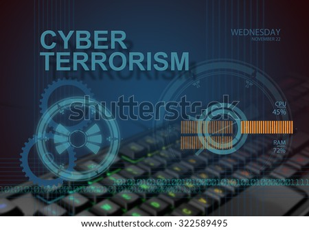 hi tech infographics of cyber terrorsm made in 3d software - stock photo