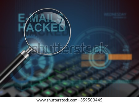 hi tech infographics of e-mails hacked made in 3d software - stock photo