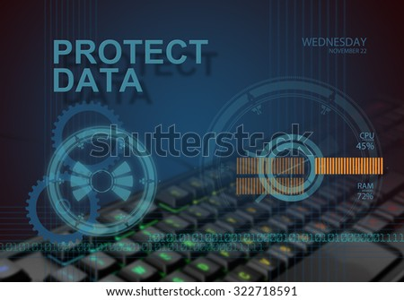 hi tech infographics of protect data made in 3d software - stock photo