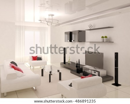 Hi-tech living room with stylish furniture, 3d rendering.