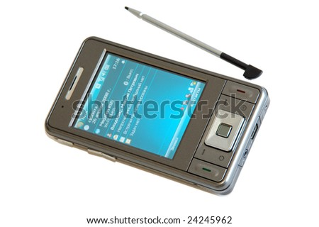 Hi-Tech mobile phone on white background - stock photo