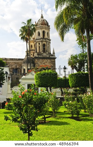 Hibiscus blooming near the Sanctuary of Our Lady of Solitude, Guadalajara Jalisco, Mexico - stock photo