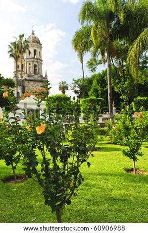 Hibiscus blooming near the Sanctuary of Our Lady of Solitude, Guadalajara, Jalisco, Mexico - stock photo