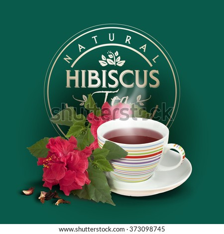 Hibiscus flower and tea with fresh and dried petals - stock photo