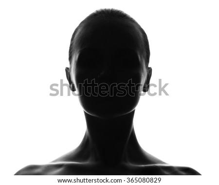Hidden face. female silhouette.studio shot. isolated on white - stock photo
