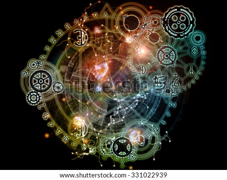 Hidden Geometry series. Arrangement of symbols, gears and lights on the subject of astrology, magic and sacred geometry. - stock photo