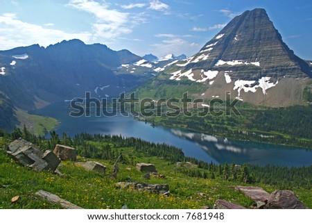Hidden Lake in Glacier NP, Montana - stock photo