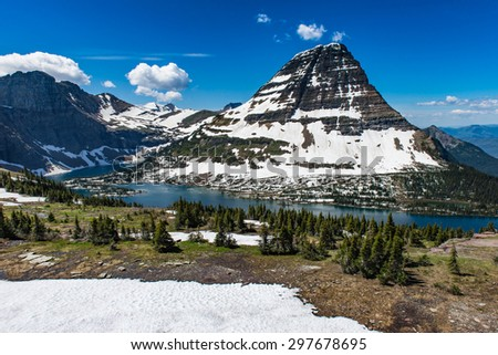 Hidden lake on Logan Pass, Glacier National Park - stock photo