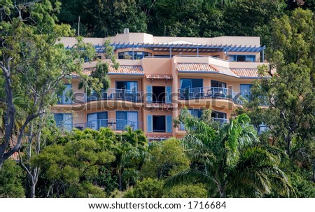 hidden luxury mansion - stock photo