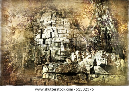 hidden temples  - artwork (from my cambodian series) - stock photo