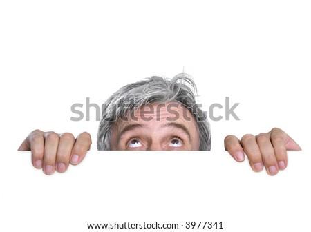 Hidden timid gray-haired man - stock photo