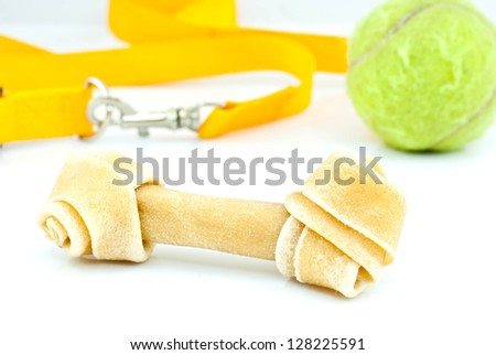 hide knotted bone dog chews - stock photo