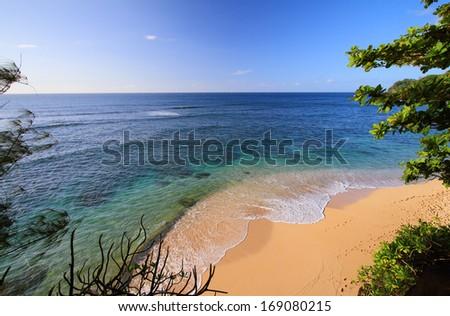 Hideways beach in Kauai island, Hawaii - stock photo