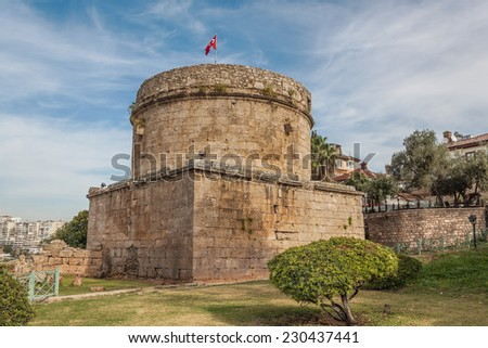 Hidirlik Tower in Antalya, Turkey - stock photo