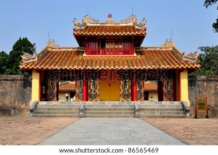 Hien Duc Gate at Minh Mang tomb - Hue, VIetnam - stock photo