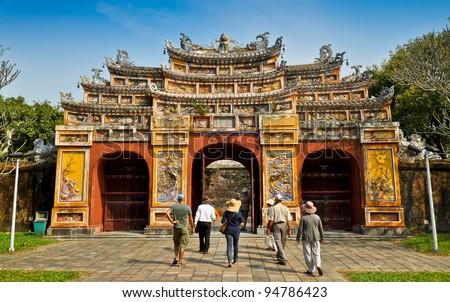 Hien Lam Pavilion Gate, The Citadel - Hue, Vietnam. - stock photo