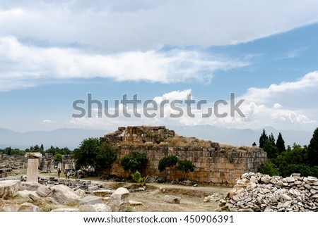 Hierapolis in Pamukkale Turkey. June 2015.  The ruins of the ancient roman city.