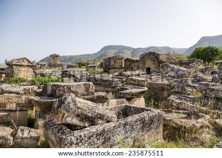 Hierapolis, Turkey. Sarcophagi and tombs in the ancient necropolis, II century BC - XIV century AD
