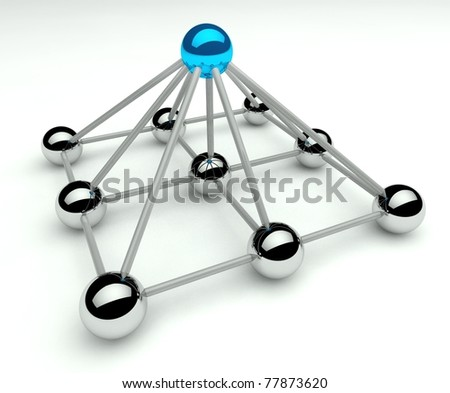 Hierarchy and management, 3d pyramid levels - stock photo