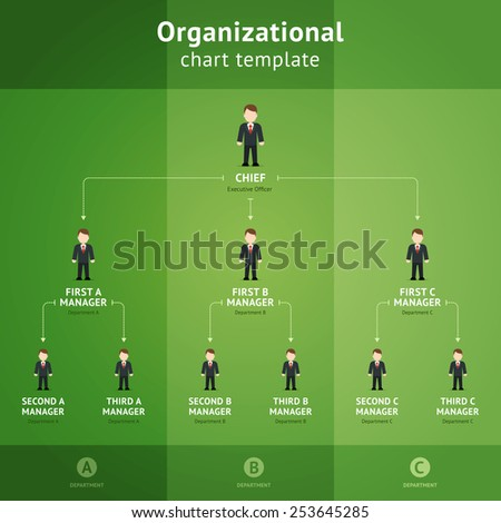 Hierarchy diagram from chef to subordinates on a green background. Organizational chart template - stock photo
