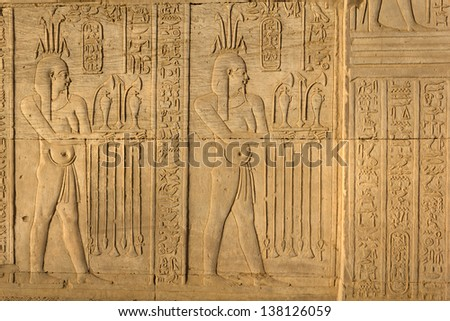 Hieroglyphic carvings in Kom Ombo temple, Egypt - stock photo