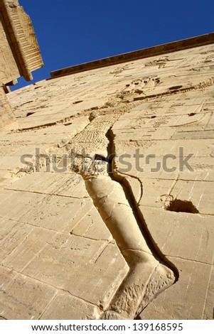Hieroglyphics at Temple of Edfu, Edfu, Egypt - stock photo