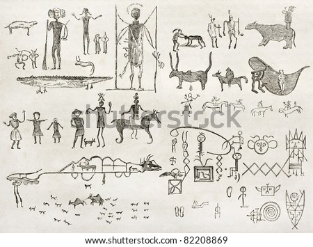 Hieroglyphics found in a cave near Fossil Creek, Arizona. By Lancelot and Gauchard after report made under the direction of the U.S. secretary of the war. Published on Le Tour du Monde, Paris, 1860 - stock photo