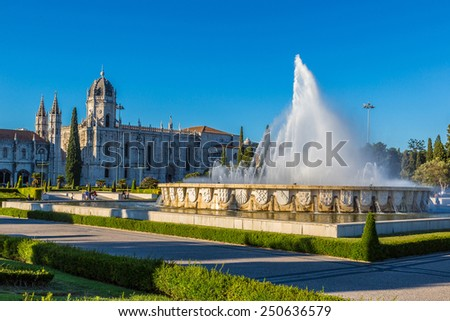 Hieronymites Monastery  and fountain in Lisbon, Portugal - stock photo