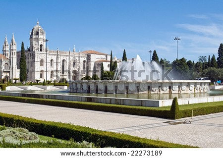 Hieronymites Monastery (Mosteiro dos Jeronimos) in Lisbon, Portugal - stock photo