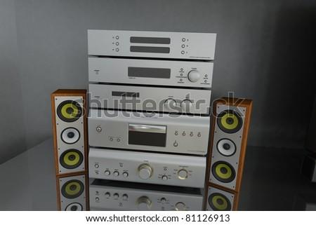 hifi stereo with speaker - stock photo