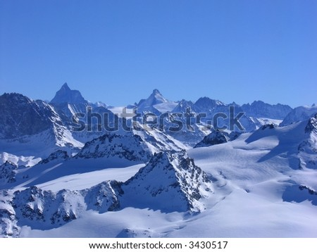 High alpine mountains seen from Mont Fort, Switzerland