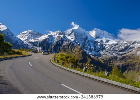 high alpine road in Austria - stock photo