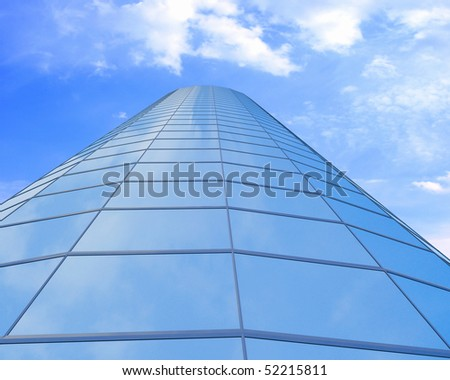 High-altitude glass buildings with the sky and clouds