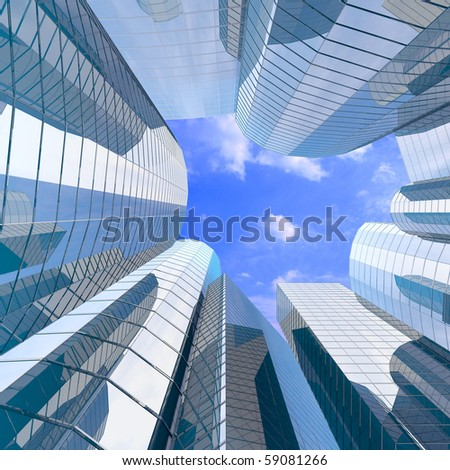 High-altitude glass buildings with the sky and clouds - stock photo