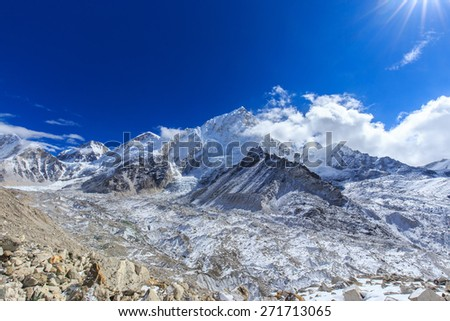 High altitude mountain scenery in Himalaya, on a beautiful, sunny day