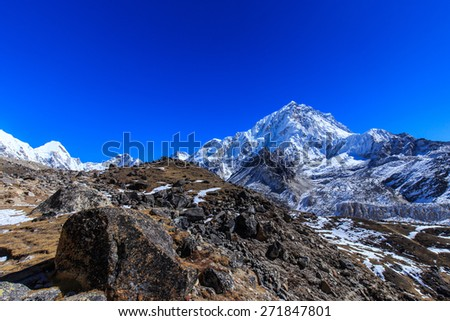 High altitude mountain scenery in Himalaya, on a bright sunny day - stock photo