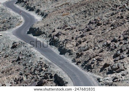 High altitude road in Himalayas - stock photo