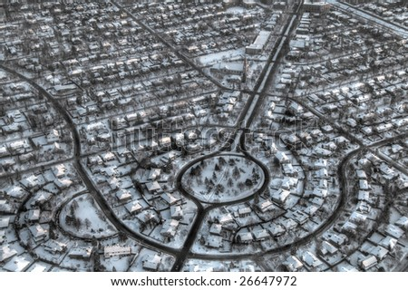 High altitude view of Mount Royal, a Montreal suburb. Pseudo-HDR image desaturated into black and white. - stock photo